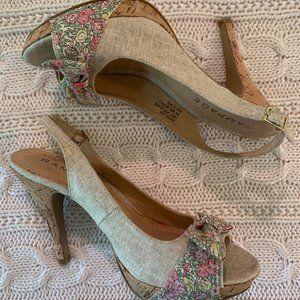 Never Worn Rampage Flower Canvas Cork Heels